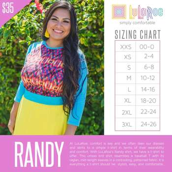 LuLaRoe Collection for Disney Randy (Sizing Chart)