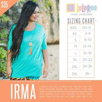 LuLaRoe Collection for Disney Irma (Sizing Chart)