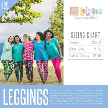 LuLaRoe Collection for Disney One Size Leggings (Sizing Chart)