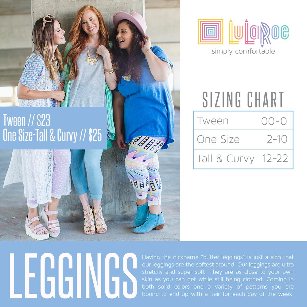 54cc900f5d49fa Sonlet | 24/7 LuLaRoe Shopping Party - One Size Leggings Sizing Chart